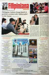 Michelle Chermaine in Filipiniana News March 2014 for Ambassador Gatan's portrait session with the Philippine artists group