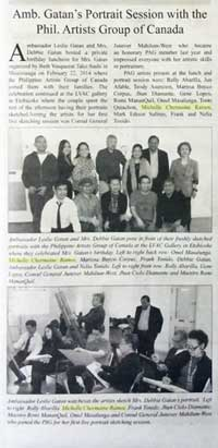 Michelle Chermaine in the Filipino Bulletin for the portrait sketching session with Philippine Ambassador Leslie Gatan
